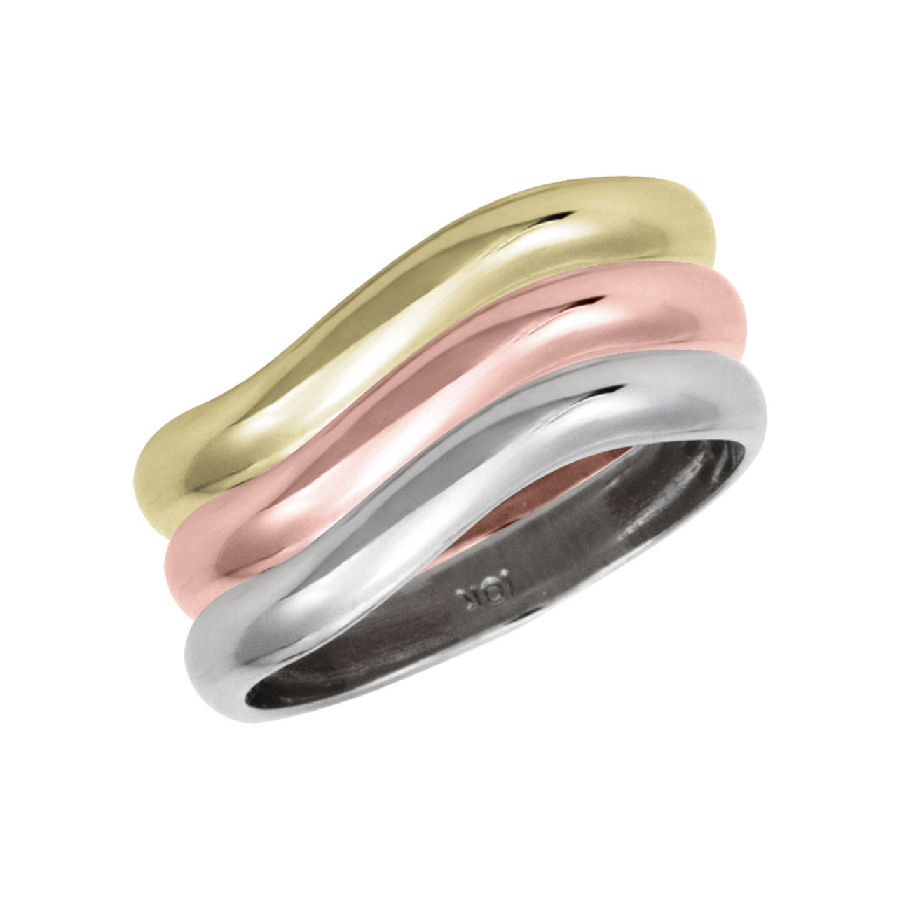 a2ba9a2cf0 Stackable Personalized 3 mm, 10k Gold Rings - a set of three rings -  Engraving