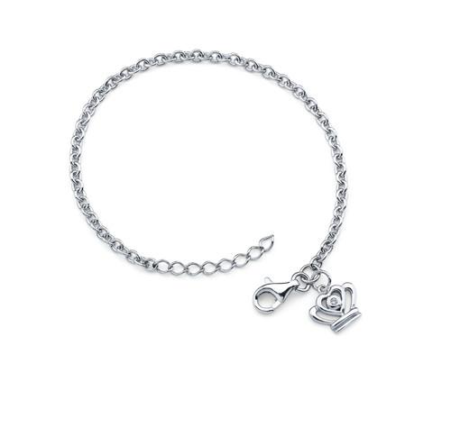 Diamond Accent Crown Charm Bracelet