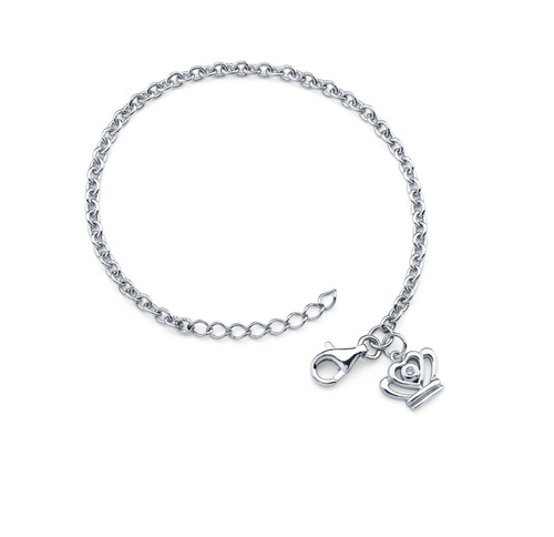 Diamond Accent Crown Charm Bracelet