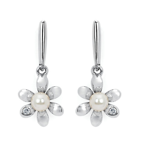 Diamond Accent & Pearl Flower Drop Earrings