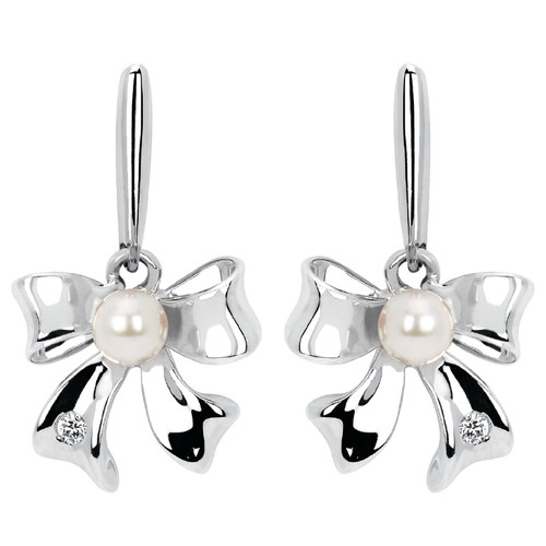Diamond Accent & Pearl Bow Drop Earrings
