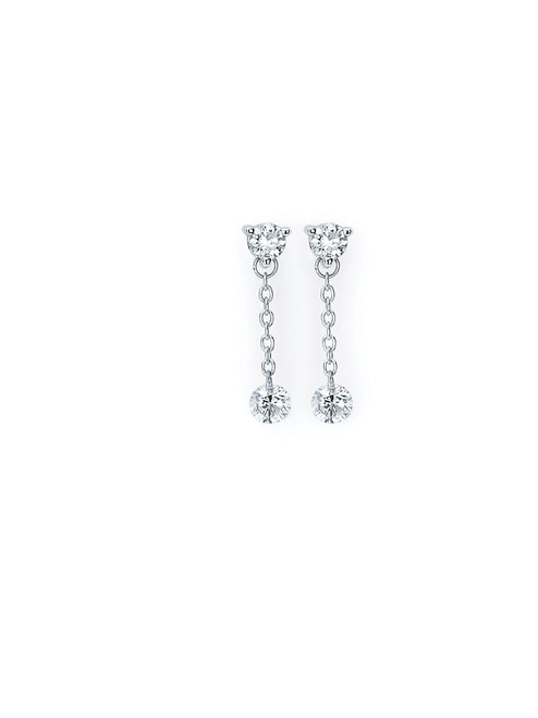 14k White Gold 1/2 Ctw. Diamond Dangle Earrings