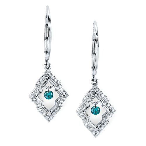 14K White Gold 1/3 c.t. TW Blue and White Diamond Drop Earrings