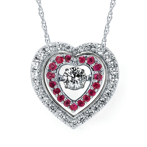 Diamond and Ruby Double Heart Pendant Necklace