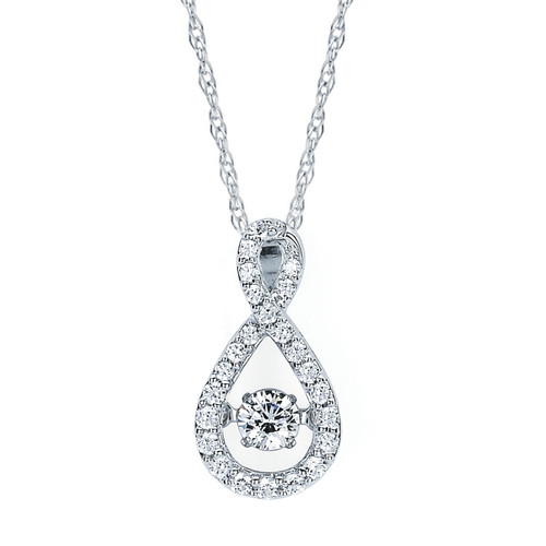 14K White Gold 1/3 c.t. TW Diamond Infinity Pendant Necklace