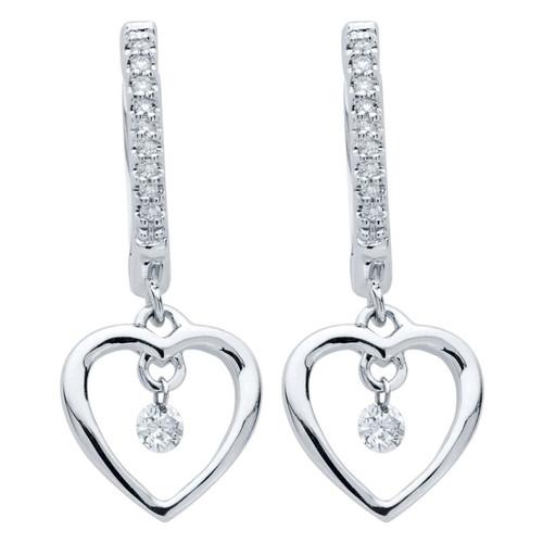 Heart Earrings in Sterling Silver with 1/6 Ctw. Diamonds