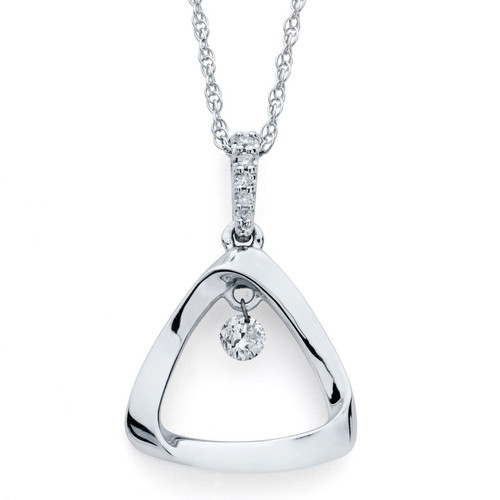 Triangle Pendant in Sterling Silver with 1/10 Ctw. Diamonds