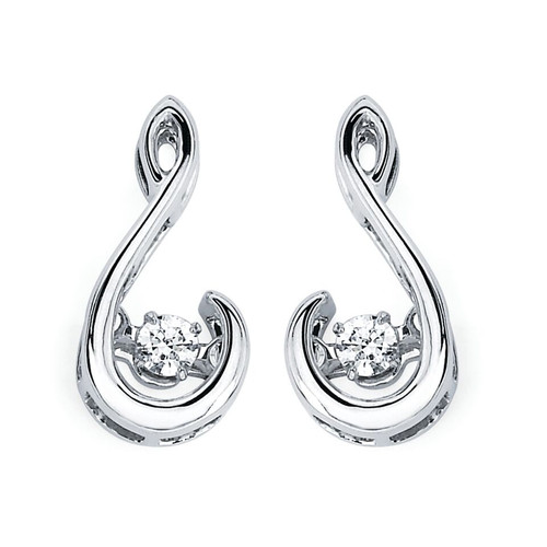 Earrings in Sterling Silver with 1/10 Ctw. Diamonds