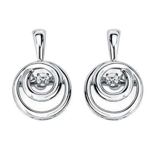 Embedded Circle Earrings in Sterling Silver with 1/8 Ctw Diamonds