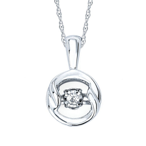 Sterling Silver .03 Ct. Diamond Circle Pendant Necklace