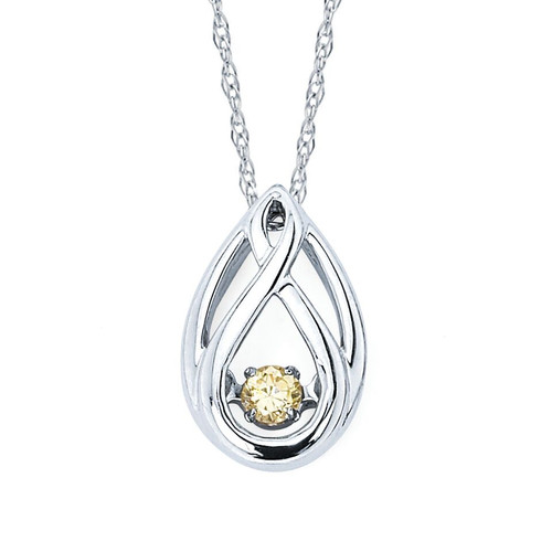 Twisted Tear Drop Pendant in Sterling Silver with .07 Ctw. Diamonds
