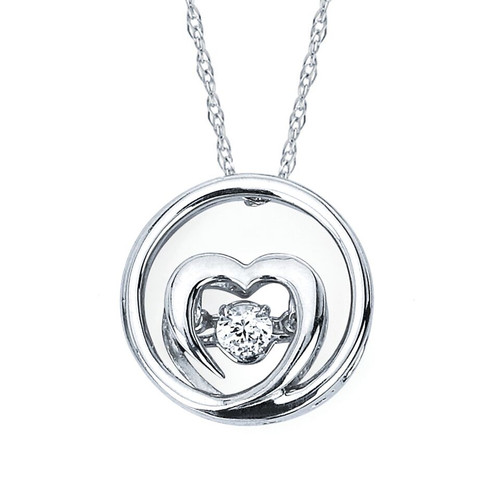 Embedded Heart Pendant in Sterling Silver with .07 Ct. Diamonds