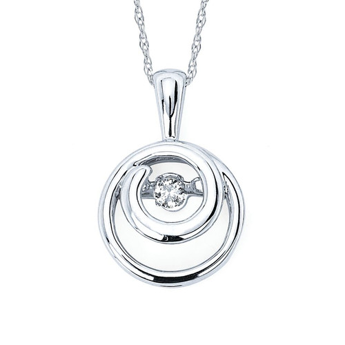 Embedded Circle Pendant in Sterling Silver with .07 Ct. Diamond