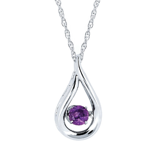 Sterling Silver Amethyst Floating Gemstone Pendant Necklace, 18""