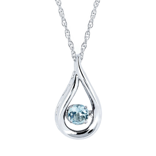 Sterling Silver Aquamarine Floating Gemstone Pendant Necklace, 18""