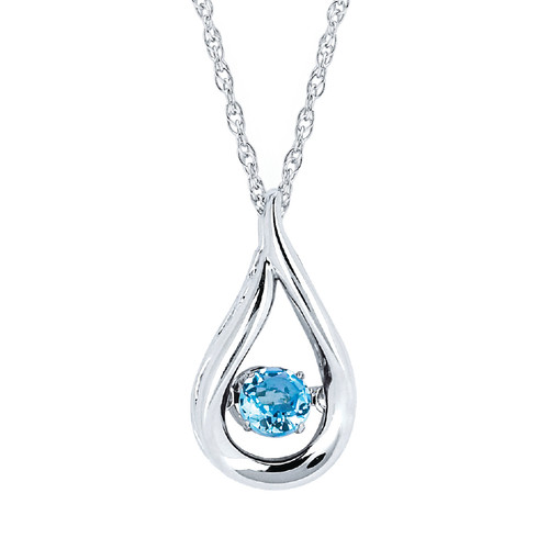 Sterling Silver Blue Topaz Floating Gemstone Pendant Necklace, 18""