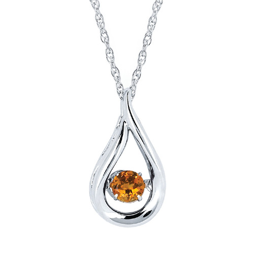Sterling Silver Citrine Floating Gemstone Pendant Necklace, 18""