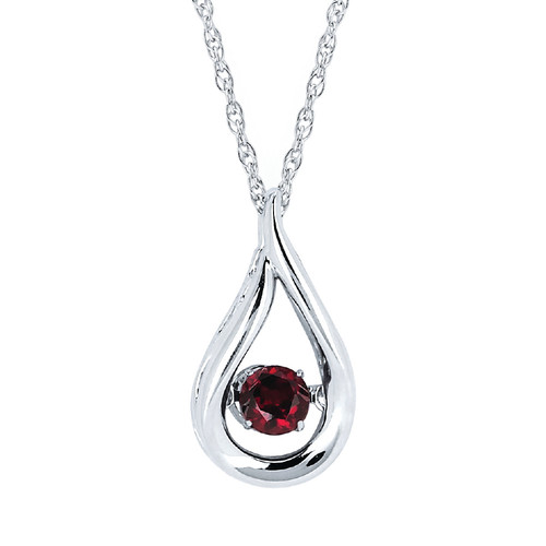 Sterling Silver Garnet Floating Gemstone Pendant Necklace, 18""
