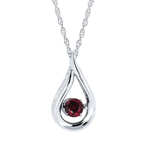 """Sterling Silver Garnet Floating Gemstone Pendant Necklace, 18"""""""