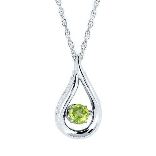 Sterling Silver Peridot Floating Gemstone Pendant Necklace, 18""