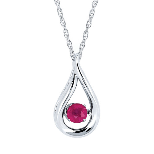 Sterling Silver Ruby Floating Gemstone Pendant Necklace, 18""