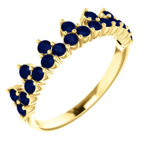 14K Yellow Chatham® Created Blue Sapphire Crown Ring