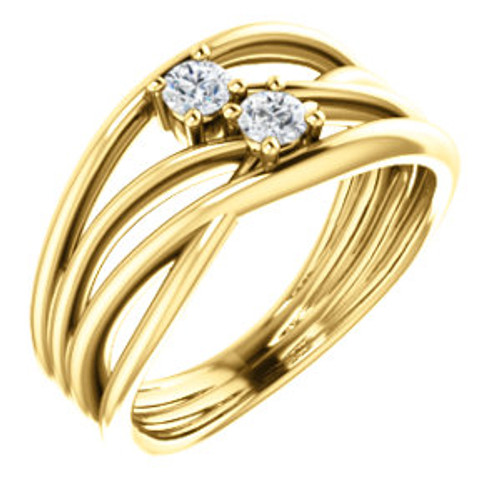 14K Yellow 1/5 CTW Diamond Two-Stone Bypass Ring