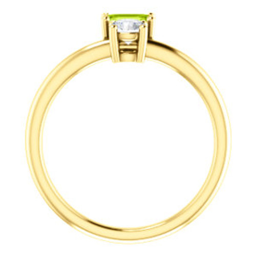 14K Yellow Peridot & Sapphire Two-Stone Ring