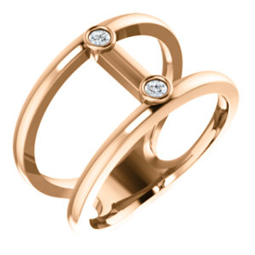 14K Rose .06 CTW Diamond Two-Stone Negative Space Ring