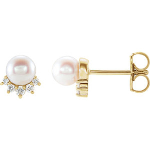 14K Yellow Freshwater Cultured Pearl & .08 CTW Diamond Earrings
