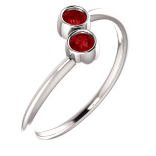 14K White Ruby Two-Stone Ring