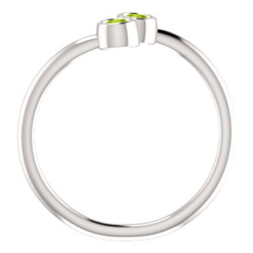 14K White Peridot Two-Stone Ring