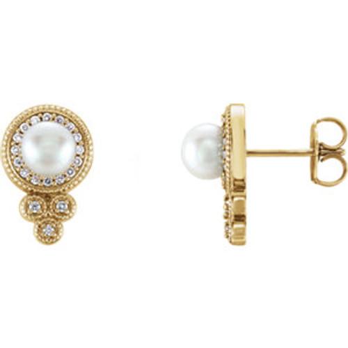 14K Yellow Freshwater Pearl & 1/5 CTW Diamond Earrings
