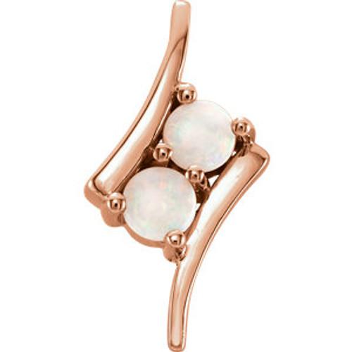 14K Rose White Opal Two-Stone Pendant