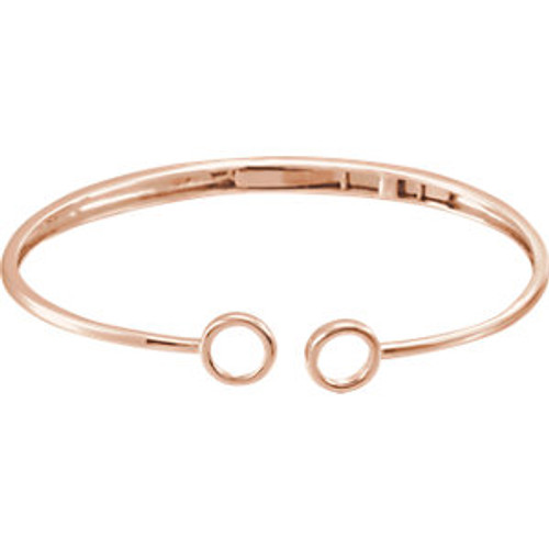"14K Rose Hinged Circle Bangle 7"" Bracelet"