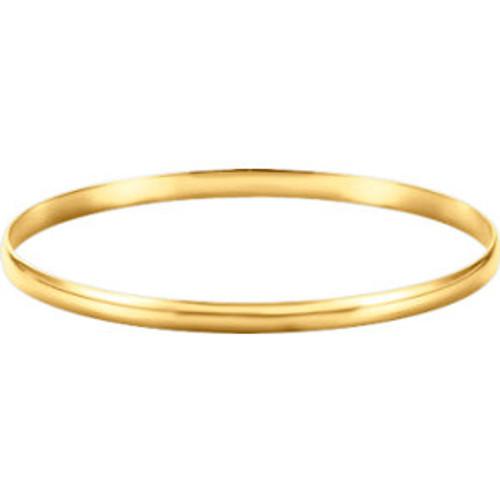 14K Yellow 4mm Half Round Bangle Bracelet