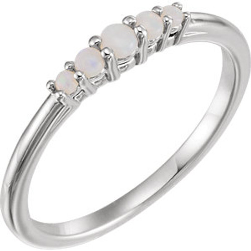 14K White Opal Graduated Five-Stone Ring