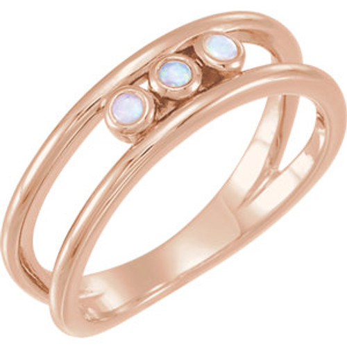 14K Rose Opal Three-Stone Bezel Set Ring