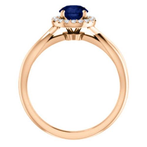 45758b850 ... 14K Rose Chatham® Created Lab-Grown Blue Sapphire & 1/10 CTW Diamond ...