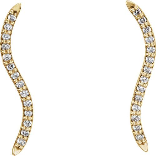 14K Yellow 1/6 CTW Diamond Wavy Ear Climbers