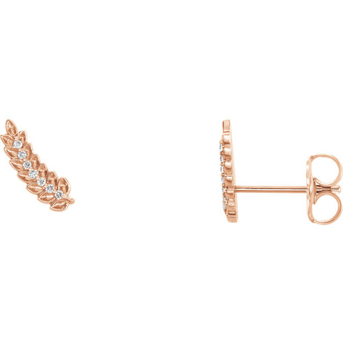 14K Rose .04 CTW Diamond Leaf Ear Climbers
