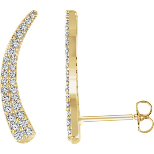 14K Yellow 3/8 CTW Diamond Ear Climbers
