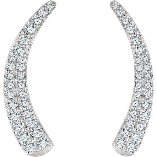 14K White 3/8 CTW Diamond Ear Climbers
