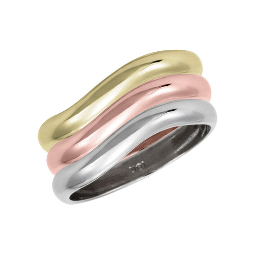 Stackable Personalized 3 mm, 10k Gold Rings - a set of three rings - Engraving