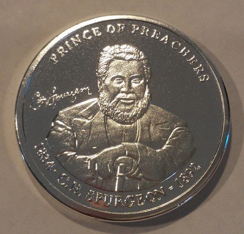 Silver Spurgeon coin - front