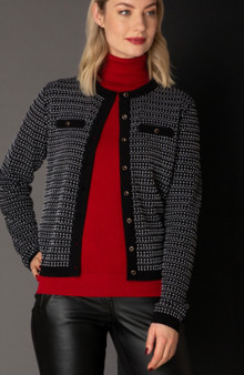 Yest Black and White Pattern Cardigan Sweater