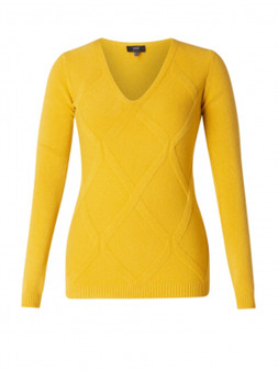 Yest V Neck Sweater with Diamond Pattern in Mustard
