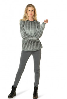 Yest Crew Sweater in Gray and Ivory Ombré Pattern