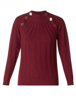 Yest Mock Neck Sweater with Button Detail in Burgundy