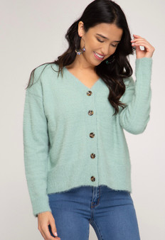 She + Sky Fuzzy Button Down Cardigan in Sage